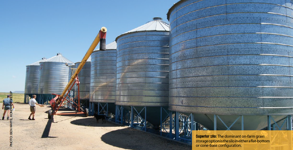 Superior silo: The dominant on-farm grain storage option is the silo in either a flat-bottom or cone-base configuration.