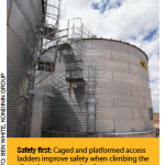 Safety first: caged and platformed access ladders improve safety when climbing the silo to inspect stored grain