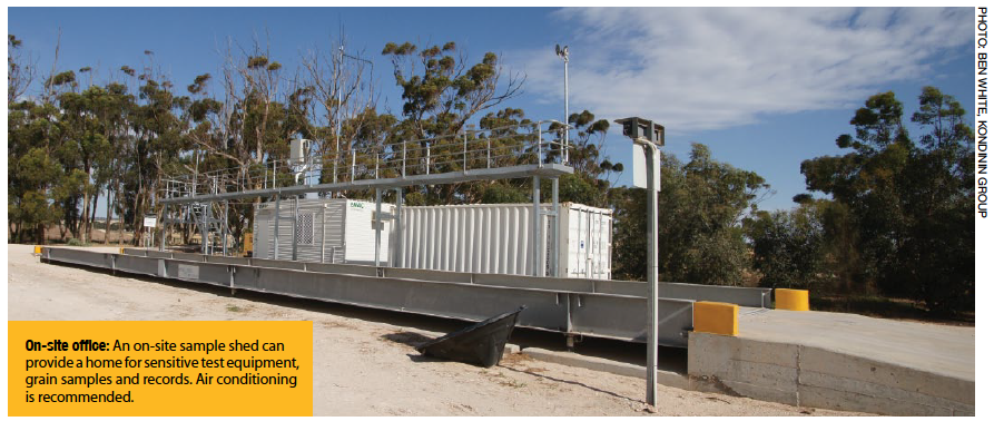 On-site office: An on-site sample shed can provide a home for sensitive test equipment, grain samples and records. Air conditioning is recommended.