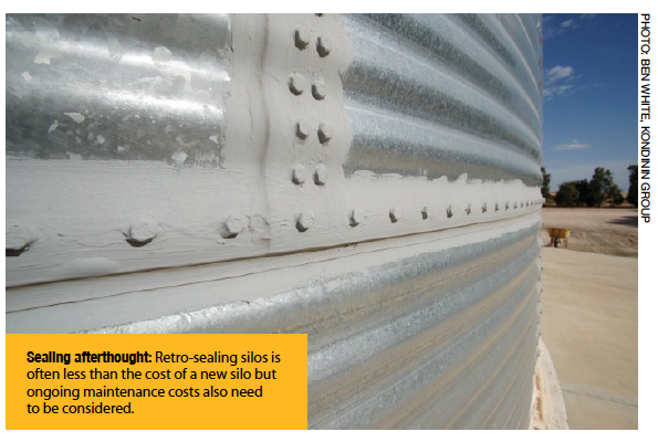 Sealing afterthought: retro-sealing silos is often less than the cost of a new silo but ongoing maintenance costs also need to be considered.