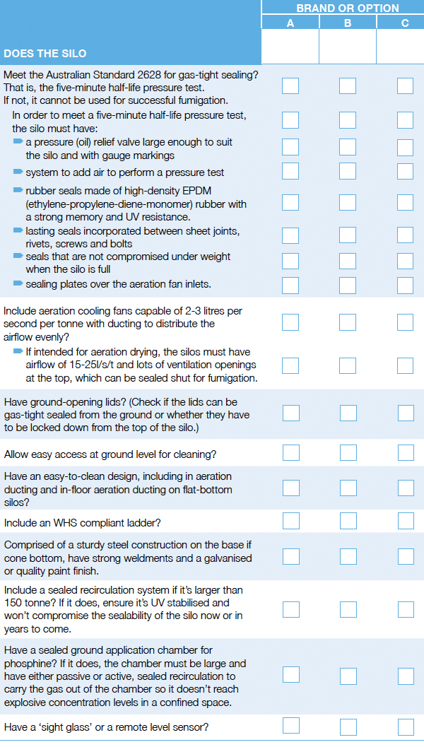 Silo Purchase Checklist
