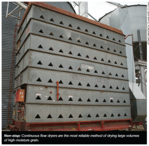 Non-stop: Continuous flow dryers are the most reliable method of drying large volumes of high-moisture grain.