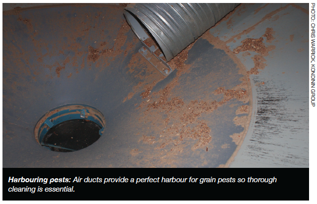 Harbouring pests: Air ducts provide a perfect harbour for grain pests so thorough cleaning is essential.